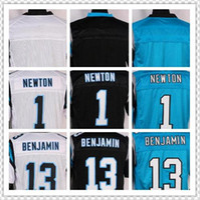 Wholesale NIK Elite Football Stitched Panthers Blank Newton Benjamin White Black Blue Jerseys Mix Order