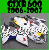 Wholesale 3gifts New Fairings Kits For SUZUKI GSXR GSXR750 GSXR600 GSX R600 R750 GSX R600 GSX R750 K6 Cool Pepsi White