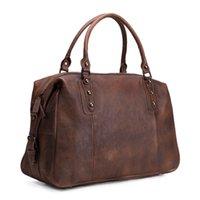 bags holdalls - ROCKCOW Vintage Style Vegetable Tanned Leather Travel Bag Duffle Bag Weekender Bag Holdall