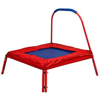 Wholesale Red Square Jumping Trampoline x FT Kids w Handle Bar and Safety Pad