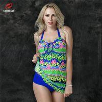 Wholesale plus size swimwear floral print women beachwear two pieces tankini swimwear russia large cup plus size