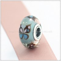 animal beads - 5pcs S925 Sterling Silver Screw Core Lampwork Blue Butterfly Kisses Murano Glass Bead Fit European Pandora charm Bracelets Necklaces
