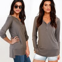 Wholesale V Neck Tops Long Straight Sleeve S XL Women Knits Panelled Button Solid color Women Clothing