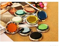 Wholesale Crystal portable mirror mix colors Compact Mirror Cosmetic Pocket Hand Makeup Mirror Wedding Favor Personalized Xmas Wedding Gift