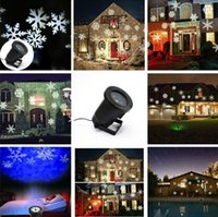 Wholesale Free Ship hot sale snowflake outdoor lights red green blue white laser projector snowflake moving pattern snowflake projector