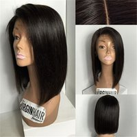 Straight baby short stock - In Stock Brazilian Virgin Hair bob Glueless Full Lace Human Hair Wigs Straight bob style lace front wig with baby hair