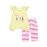 Wholesale The new summer irregular suit female baby cotton short sleeved T shirt two piece children s cartoon stripe suit