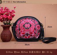 Wholesale Chinese Ethnic Style Handmade Genuine Leather Floral Embroidery Messenger Bag Women Casual bag Bolsa Feminina