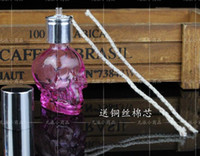 alcohol delivery - wholesalers New listing glass alcohol lamp crystal skull send wicks capacity ml color random delivery