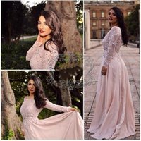 africa t shirt - 2015 Illusion Blush Prom Dresses Sequined Chiffon Applique Long Sleeve Evening Gowns Formal Party Homecoming Dress Africa Party Dress