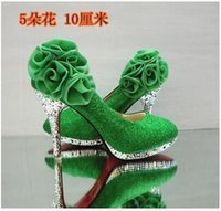 bar mitzvah - Autumn winter fashion bar mitzvah high with green wedding shoe shallow mouth with women s single crystal diamond fashion shoes