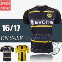 Wholesale Top Quality New REUS Soccer Jerseys M GOTZE Home Yellow Away Black KAGAWA AUBAMEYANG REUS RAMOS Camisa Bumblebee football Shirts
