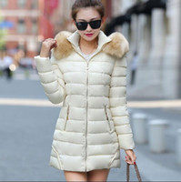Wholesale 2016 Hot Fashion Women Clothes Winter Coat Raccoon Fur Collar Warm Coats Woman Long Outerwear Thicken Parkas Down Jacket For