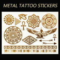Ot Sell Metallic Temporary Tatoo Sexy Tattoo Body Art / Bijoux, Bracelet, Ailes, Egyptian Fake Tattoning tôle de pliage de tatouages ​​...