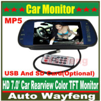 Wholesale Free Shippinrg Car HD Monitor quot Color TFT LCD Car Rearview Mirror Monitor SD USB MP5 FM Transmitter Car Camera Mirror DVR