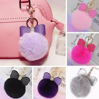 Wholesale Rabbit Fur Pom pom Key Chain Bag Charm Fluffy Puff Ball Bow Key Ring Car Pendant