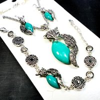 antique ruby earrings - 1 Set Fashion Jewelry Hot major Vintage Antique Silver Fox turquoise Necklace Pendant Earring For Women Jewelry Sets LR151