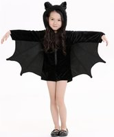 bats movie - Children s Halloween Children s Bat Dress Cos play Children s Performance Costumes Party Lovely Short Paragraph Flannel Dress