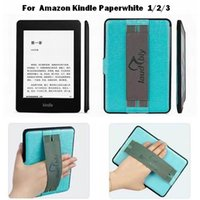 Wholesale 1pcs Fashion PU leather Hand Strap Back Shell Case for Amazon Kindle Paperwhite