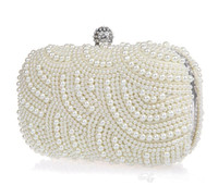 Wholesale 2016 Latest Sparkle Shining Crystal Pearls Bridal Hand Bags with Chain Women Wedding Evening Prom Party Bags Bridesmaid Bags