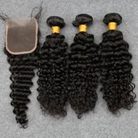 Precio de 7a encierro del pelo de la onda profunda-Slove 7A Malasia Virgen Pelo Con Cierre 3 Paquetes Curly Tejer Cabello Humano Ola Profunda Con Cierre Wet Y Ondulado Sloce Hair Products