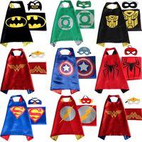 batman costumes cheap - 2017 Hot Cheap Kids Superhero Capes and masks Batman Spiderman Ninja Turtles Flash Supergirl Batgirl Robin for Children capes with mask