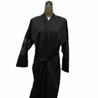 beauty fabric black - Beauty Salon Uniform Spa Uniforms Hairdresser Salon Kimono Polyester Pongee D Fabric Black Color High Quality Free Shipment