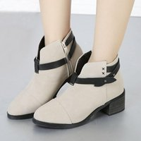 Cheap Nice Fashion Womens Ankle Boots Zip Squared Chunky Heels Ladies Autumn Shoes Beige Brwon size 15 to 18