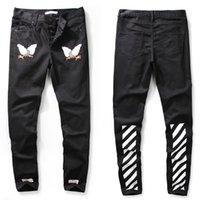 american c - 2016 Off White c o virgil abloh Embroidery Eagle black men casual fashion denim jeans