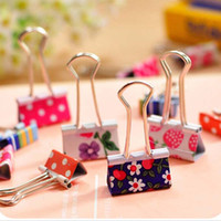 Wholesale 48 Flower Printed Metal Binder Clips Notes Letter Paper Clip Office School mm mm Stationery Clip