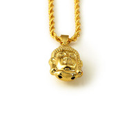 american buddhism - 2016 Fashion Buddha Buddhism Head Necklace K Gold Plated Iced Out Pendant Necklaces Trendy Link Chain Jewelry For Religiou Women