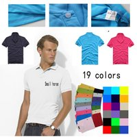 Wholesale 2016 Brand Designer Mens Polo Tee Shirts Small Horse Logo Embroidery T Shirts Lapel Short sleeved Shirts Tops Colors Plus Size S XXXXXL