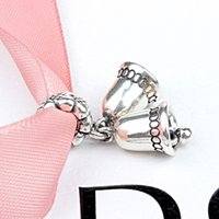 bell charm necklace - Jingle Bell Pandora Charm Beads Sterling Silver Jewelry Big Hole for DIY Bracelet Necklace