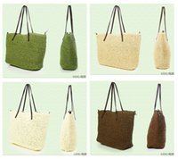 Wholesale Fashion Pure Color Beach Bags Rattan bags Grass Straw Bags Ladies Shoulder Bags Support Drop Shipping