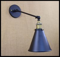 arm funnel - AC v v Industrial Warehouse Kitchen bedroom cafe cellar clothing wall lights L30cm single arm swing black funnel filer metal shade