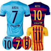 Wholesale 2015 BarcelonaES jersey Messi neymar jr A iniesta Suarez Soccer jersey Blue Red Barce Player Version Thai Football Shirt Uniform Kits