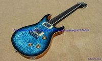Wholesale New brand electric guitar see thru blue quilt flame body top chrome parts one piece body and neck