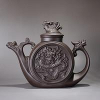 Wholesale Purple sand teapot Traditional Chinese Tea pot Dragon and Phoenix Tea kettle Premium tea infuser purple clay tea set