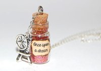 beauty messages - 12pcs sleeping Beauty Handmade Glass Bottle Necklace once upon a dream message silver necklace