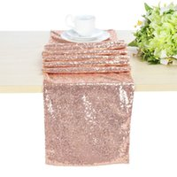 Wholesale Set of Rose Gold Sequin Table Runners Tablecloth sequin linen luxe glitz sequin tablecloth