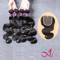 Wholesale Indian Body Wave Bundles Hair Weaves Natural B with X4 Middle Part Body Weaves Closure Human Hair Extensions Dyeable Hair