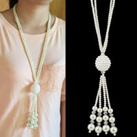 Wholesale Long Pearl Necklace Designs - Trendy Fashion Jewelry Women Sweater Chain Long Design White Pearl Tassel Necklace