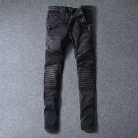 Wholesale Mens Balmain Jeans Biker Jeans Slim Fit Locomotive Jeans For Men Knee Folds Jeans Washing Scratches Jeans Feet Pants