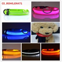 Wholesale Colorful LED Nylon Pet Dog Collar Night Safety LED Light up Flashing Glow In The Dark Electric LED Pets Cat Dog Collar S XL
