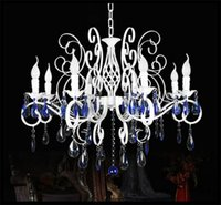 adjustable candle iron - AC110V V V V cm E14 candle Iron lights Blue crystal chandelier lamps fixtures adjustable pendant chain luminaria lustre