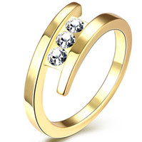 Wholesale New K Gold Plated Rings for Women s Lady Wedding Party Shining Crystal Gold Jewelry Brand Ring Sale