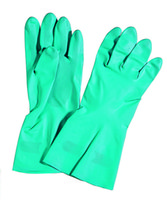 Wholesale Green nitrile industrial gloves flock lined good durability Pairs Bag cleaning gloves household cleaning gloves gardening gloves