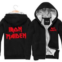 band zip hoodies - Iron Maiden Rock Band Character Winter Mens Hoodie Sweatshirt Zip Hooded Cardigan Thickening Plus Velvet Jacket Streetwear Men