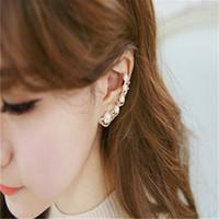 Wholesale Women Lady Fashion Five Pearls Ear Clip Rhinestone Earrings Statement Earrings Party Jewelry Earrings Valentine Gift Colors