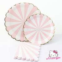 Wholesale Free Ship Paper Plate Cup Napkin Pink Color with Gold Wrapper Kids Birthday Party Decoration Festival Supplies Favor